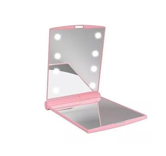 Espelho De Bolsa Com 8 Leds Portátil E Dobrável Gbmax Rosa