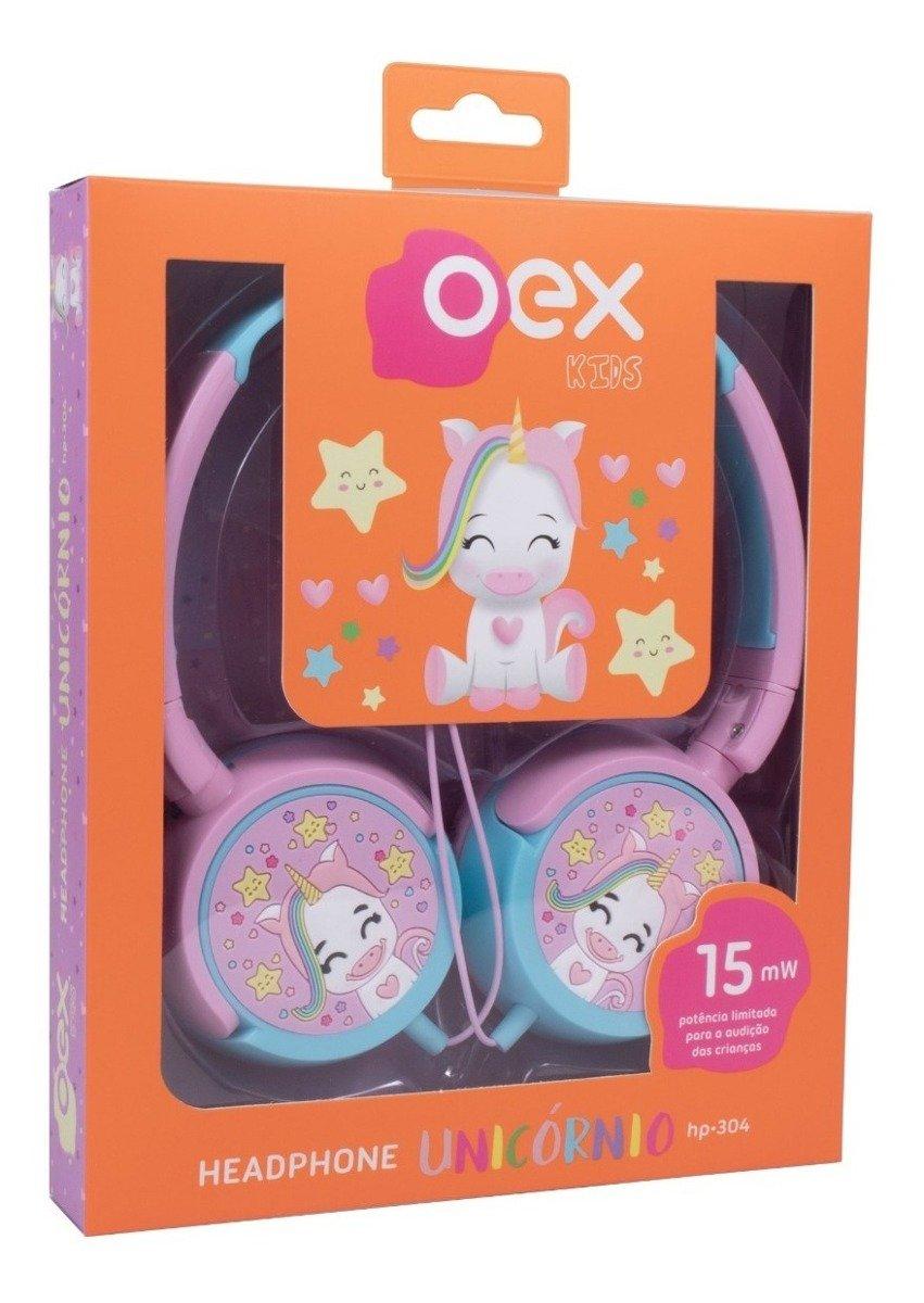 Fone de Ouvido para Criança Headphone Infantil Unicórnio Rosa HP304 OEX