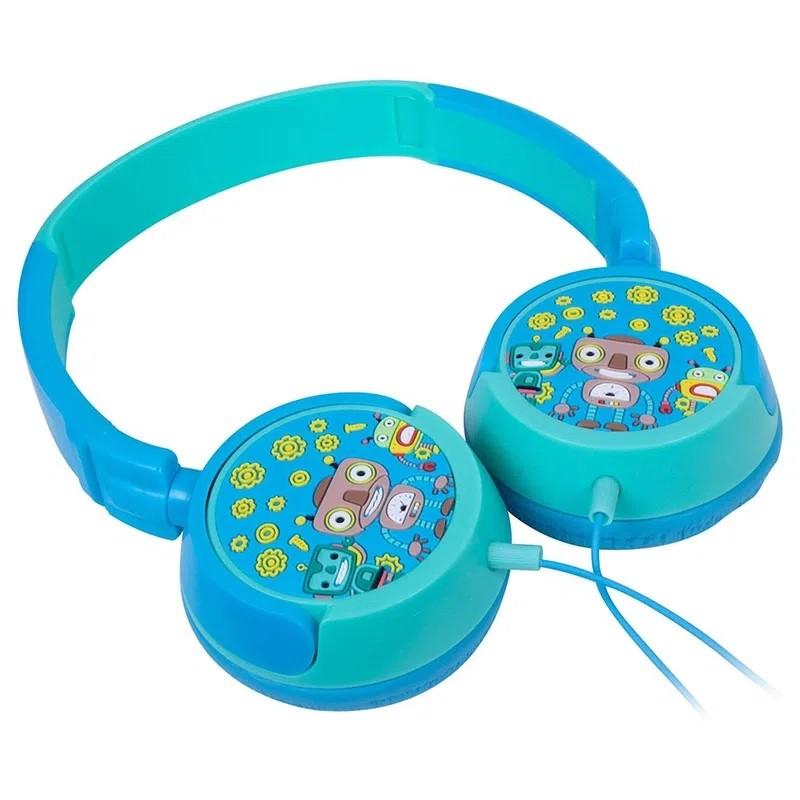 Headphone Kids Robôs Azul E Azul Claro Hp305