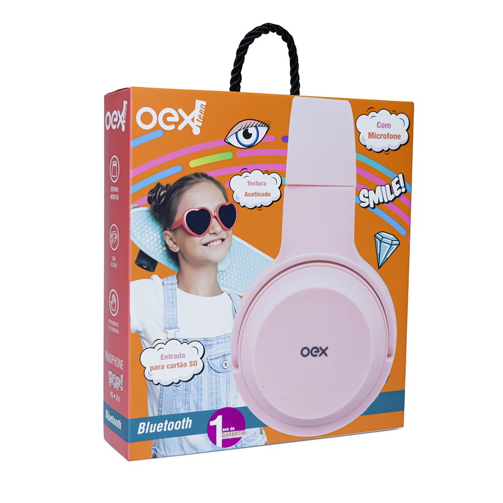 HEADSET BLUETOOTH POP ROSA hs314 OEX