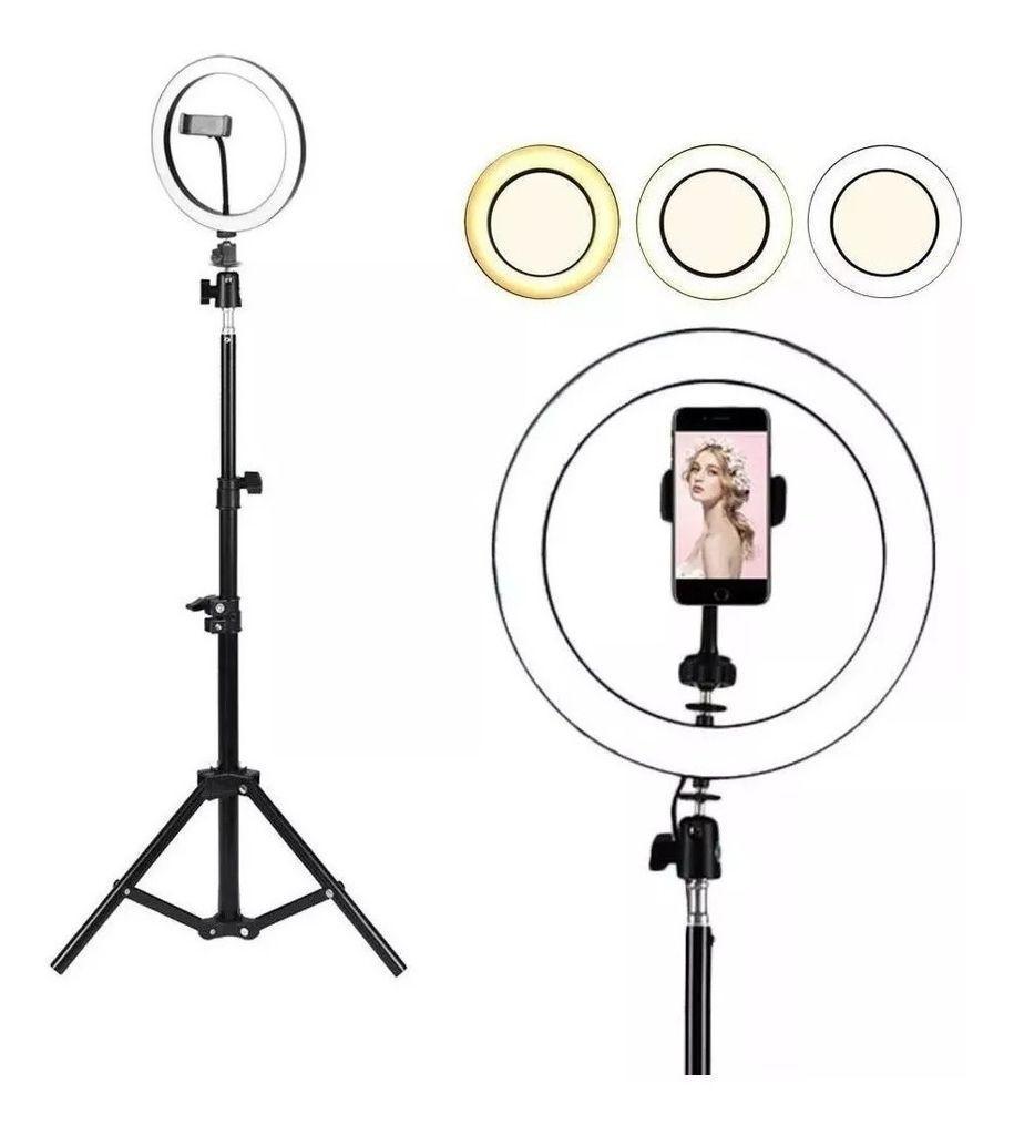 Iluminador Ring Light 10 Polegadas Tripé Maquiagem Led Selfie 26cm