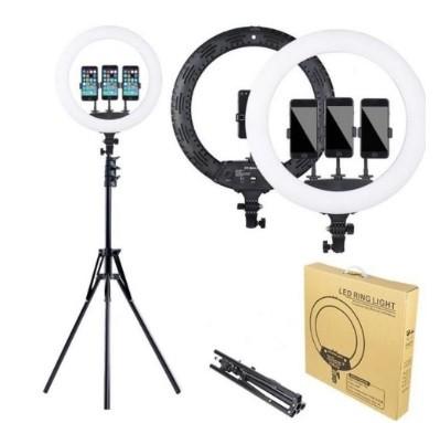 Iluminador Ring Light 18 Polegadas RGB 45W Bivolt com Tripé 2m Youtuber Selfie
