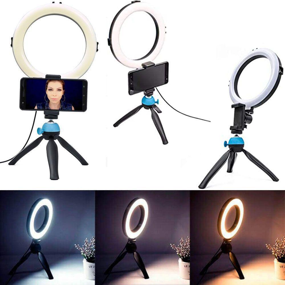 Iluminador Ring Light Profissional 8 Polegadas Usb 3 Modos de Luz com Tripé de Mesa Suporte de Celular