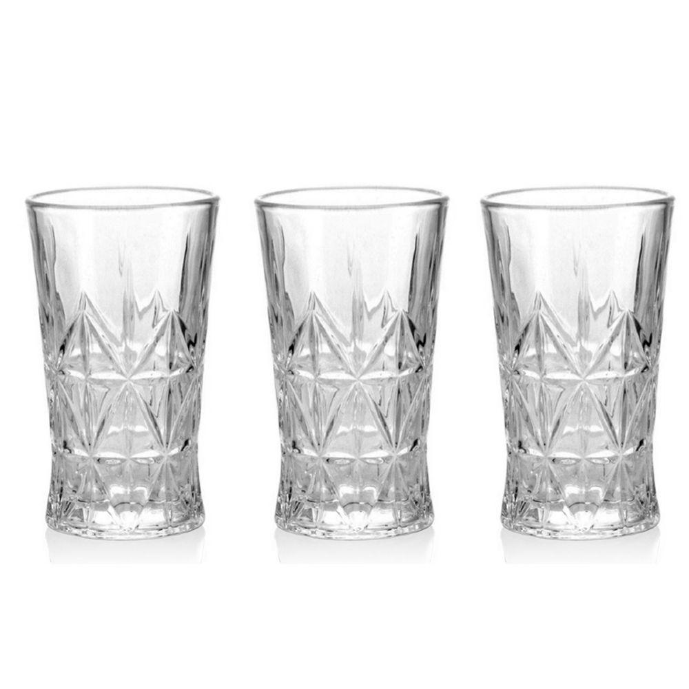 Jogo de copos de vidro transparente 6 Peças elegância 305ml Casa Ambiente