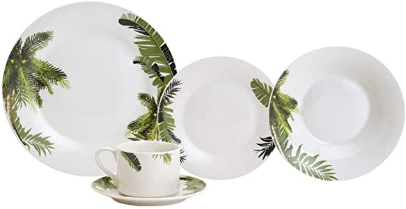 Jogo de jantar 20 peças em porcelana Coqueiro  Lyor 2271