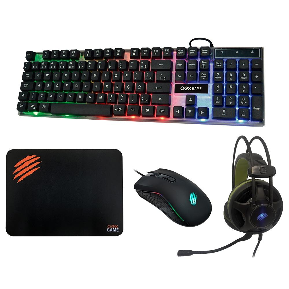 Kit Gamer OEX Game Combo Argos - Teclado + Mouse + Mousepad + Headset - TM304