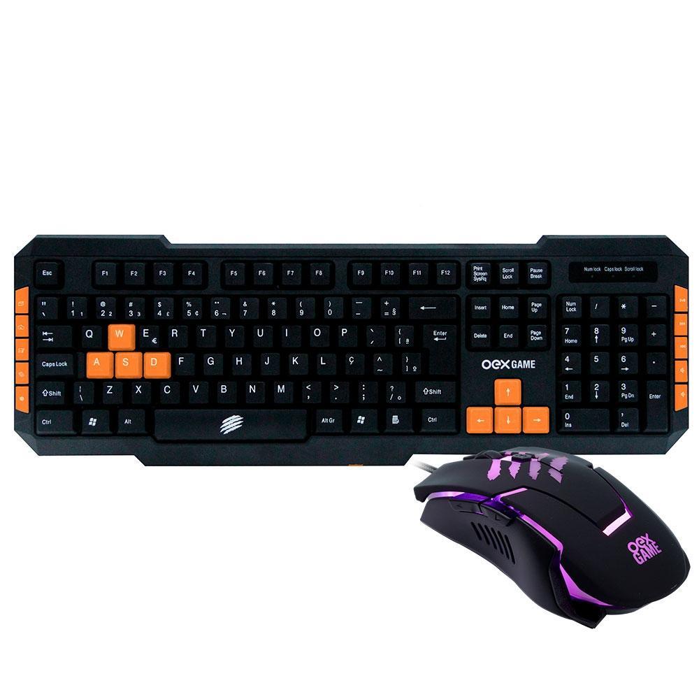 Kit Gamer OEX Game Combo Brave - Teclado, ABNT2, Preto/Laranja + Mouse, LED - TM 303