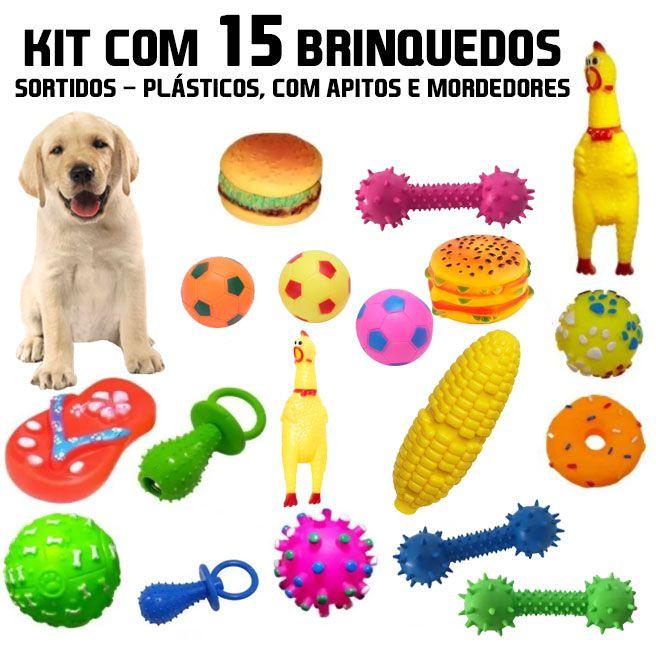 Mega Kit 15 brinquedos sortidos para Pet e Mordedores