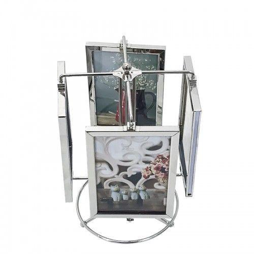 Porta Retrato Carrossel para 8 Fotos 10x15 Com Base Giratória 28cm - Sxk5396 Sanxia