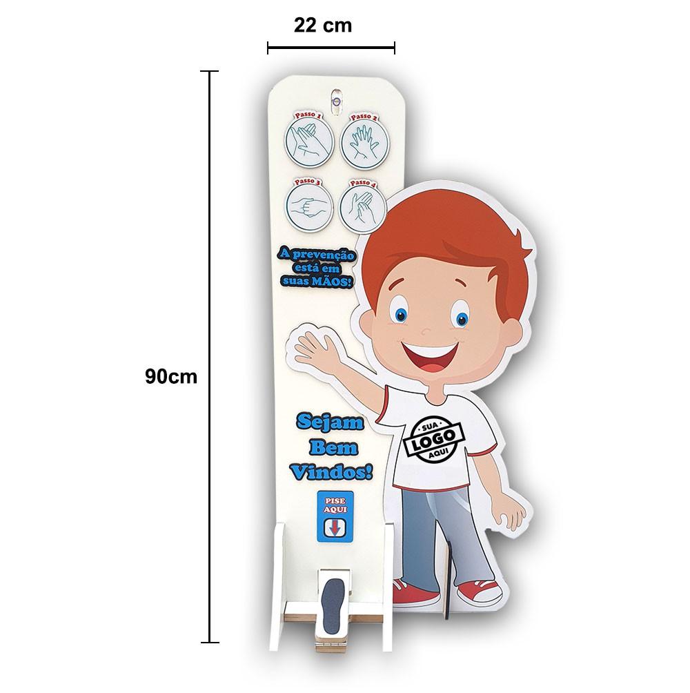 Totem Dispenser Menino Alcool em Gel Capacidade 1L customizado Logo