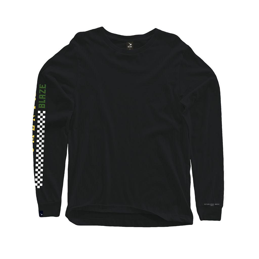 Camiseta Long Sleeve Monumental Black Blaze Supply
