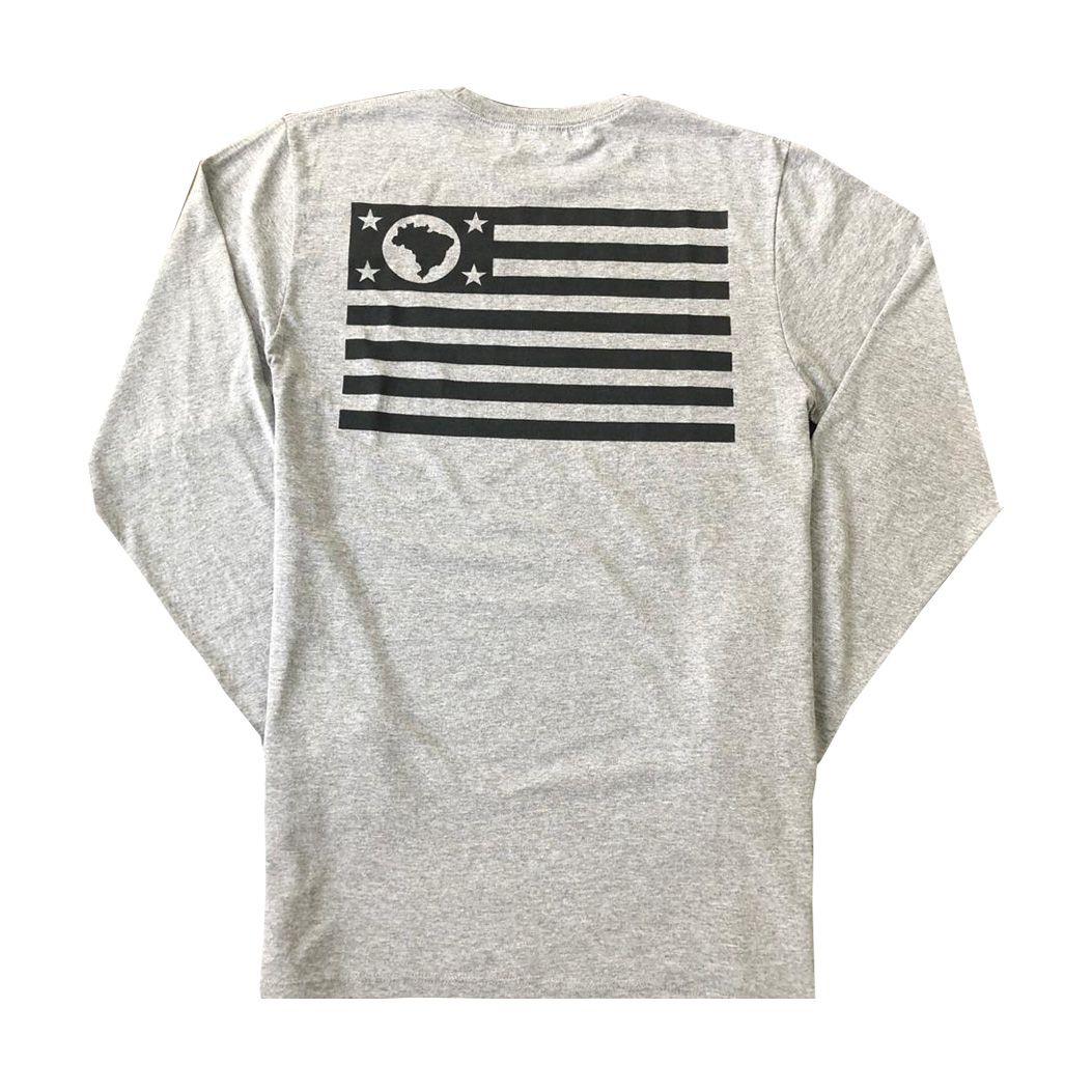 Camiseta Manga Longa SP Flag Cinza