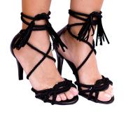 Sandália Em Cordas Amarração Preta Salto Fino