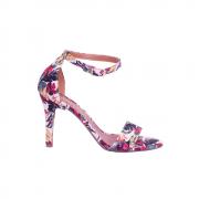 Sandália Em Tecido Floral Salto Fino