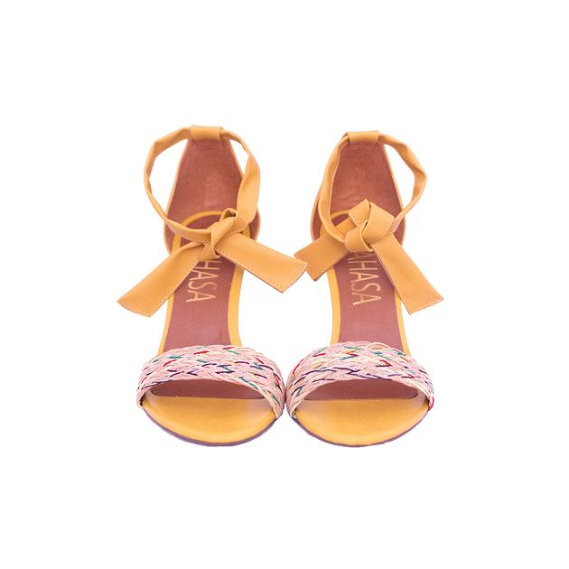 Sandália Amarração Amarela Com Cordão Trançado Salto Fino