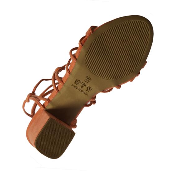 Sandália Amarração Suede Moranga Salto Grosso