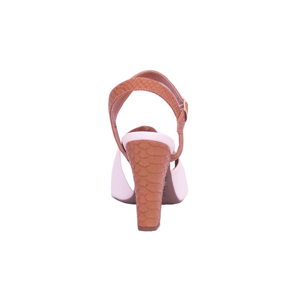 Sandália Croco Caramelo E Branco Salto Grosso