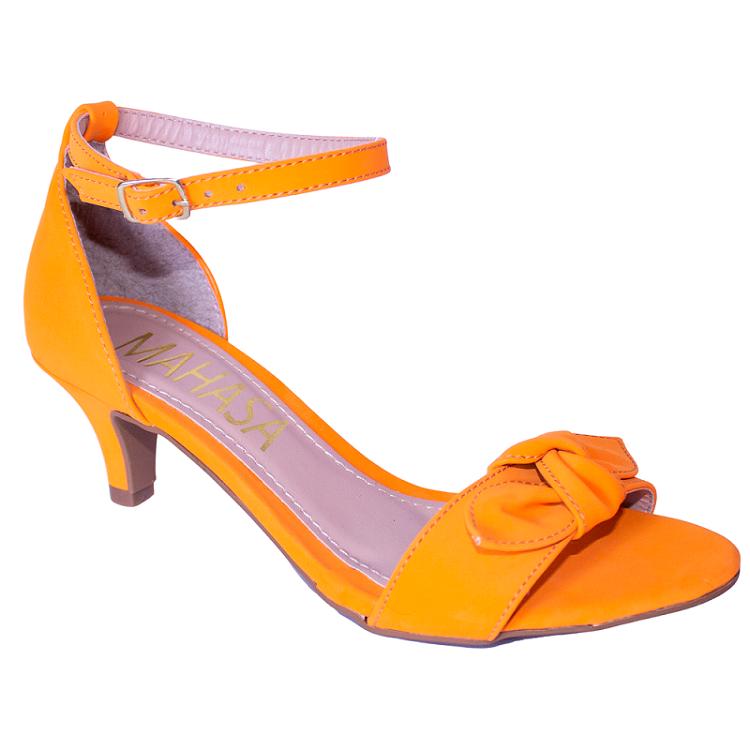 Sandália Nobuck Orange Salto Fino