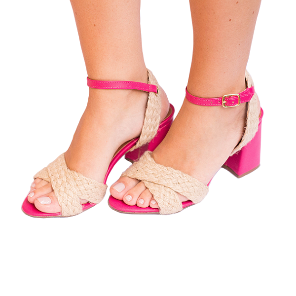 Sandália Pink Com Rafia Natural Salto Flare