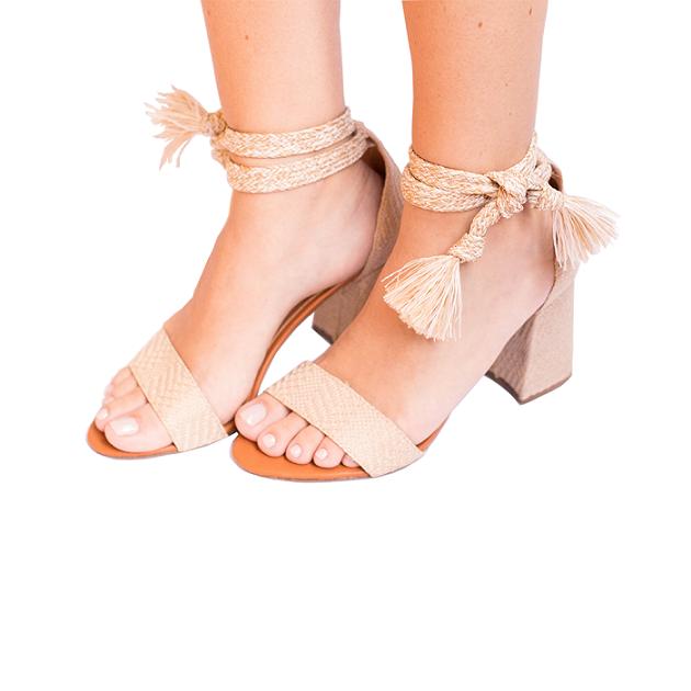 Sandália Tira E Cordão Salto Bloco