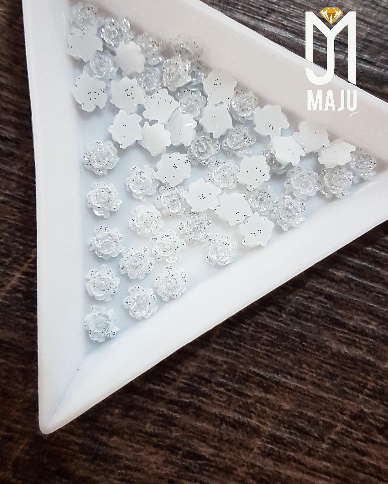 FLOR 3D 5MM GLITTER PRATA