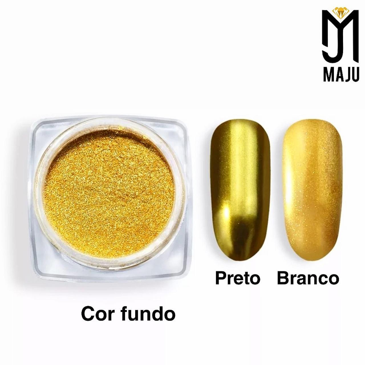 GLITTER EFEITO CROMADO DOURADO + PINCEL