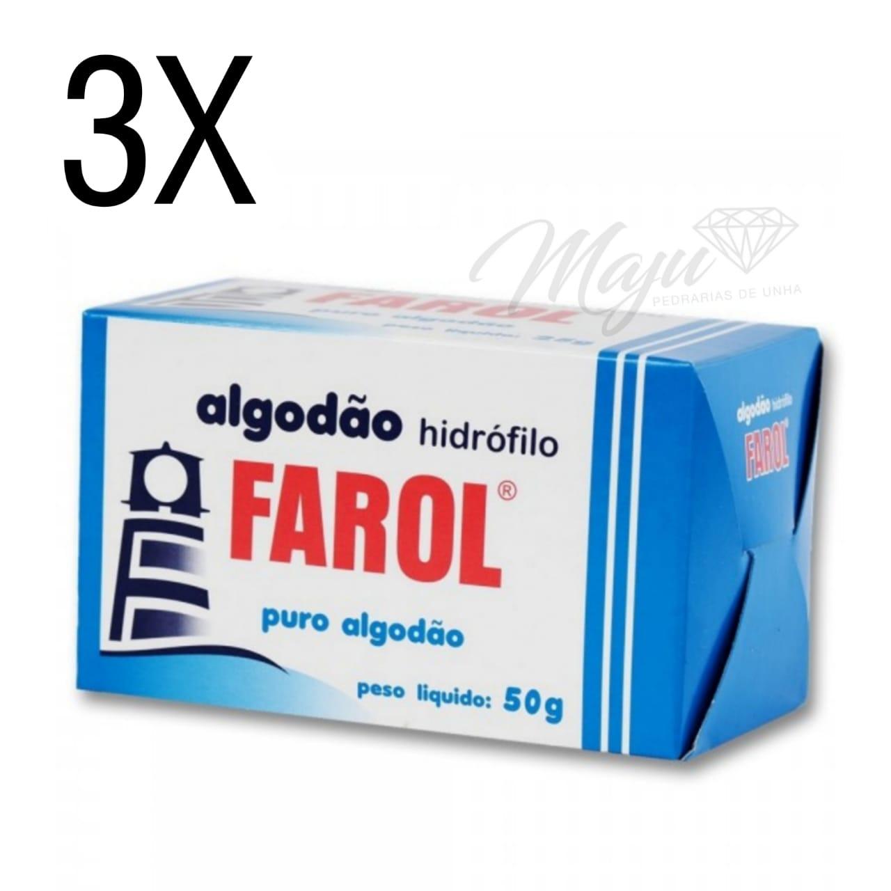 KIT ALGODAO CAIXA DE 50G HIDROFILO 3 UND FAROL