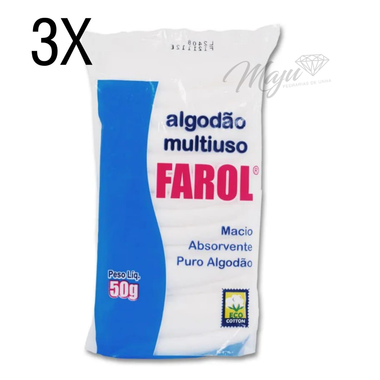 KIT ALGODAO HIDROFILO MULTIUSO FAROL 3 UND DE  50G