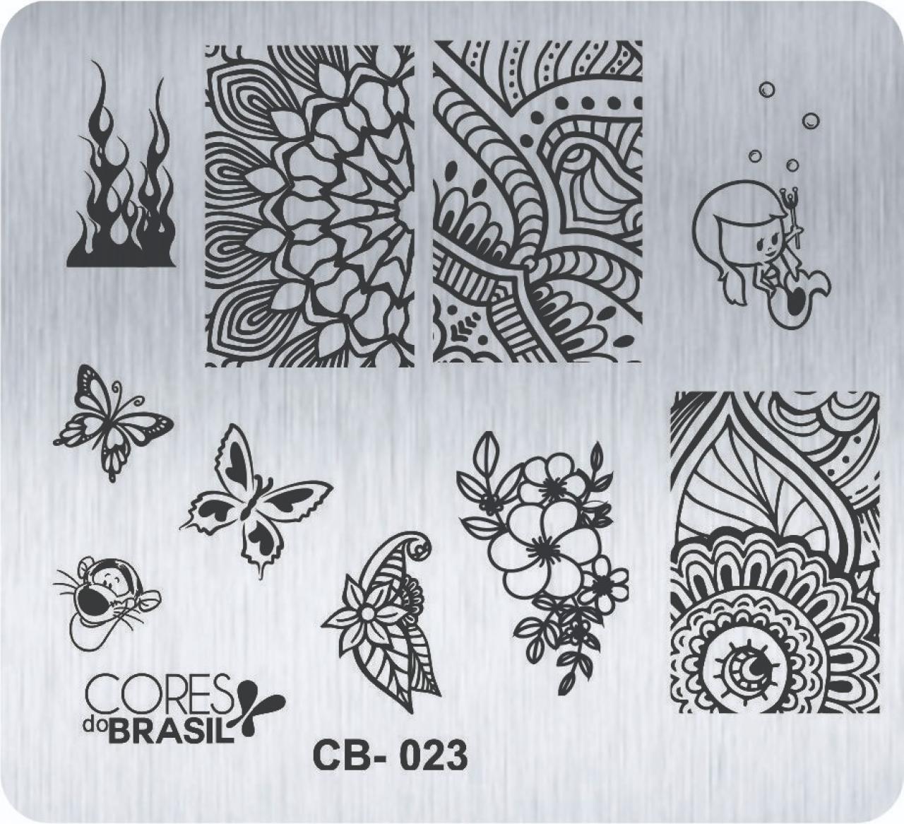 PLACA PARA CARIMBO DE UNHAS CORES DO BRASIL CB023