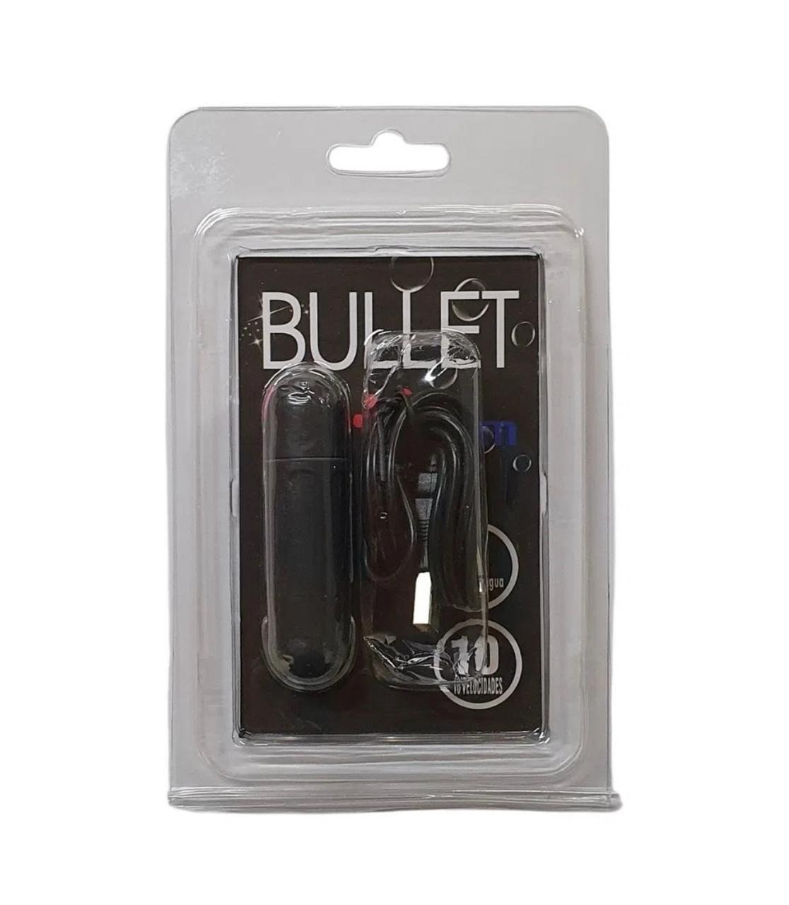 Bullet Vibratório Recarregável Preto - 10 Velocidades