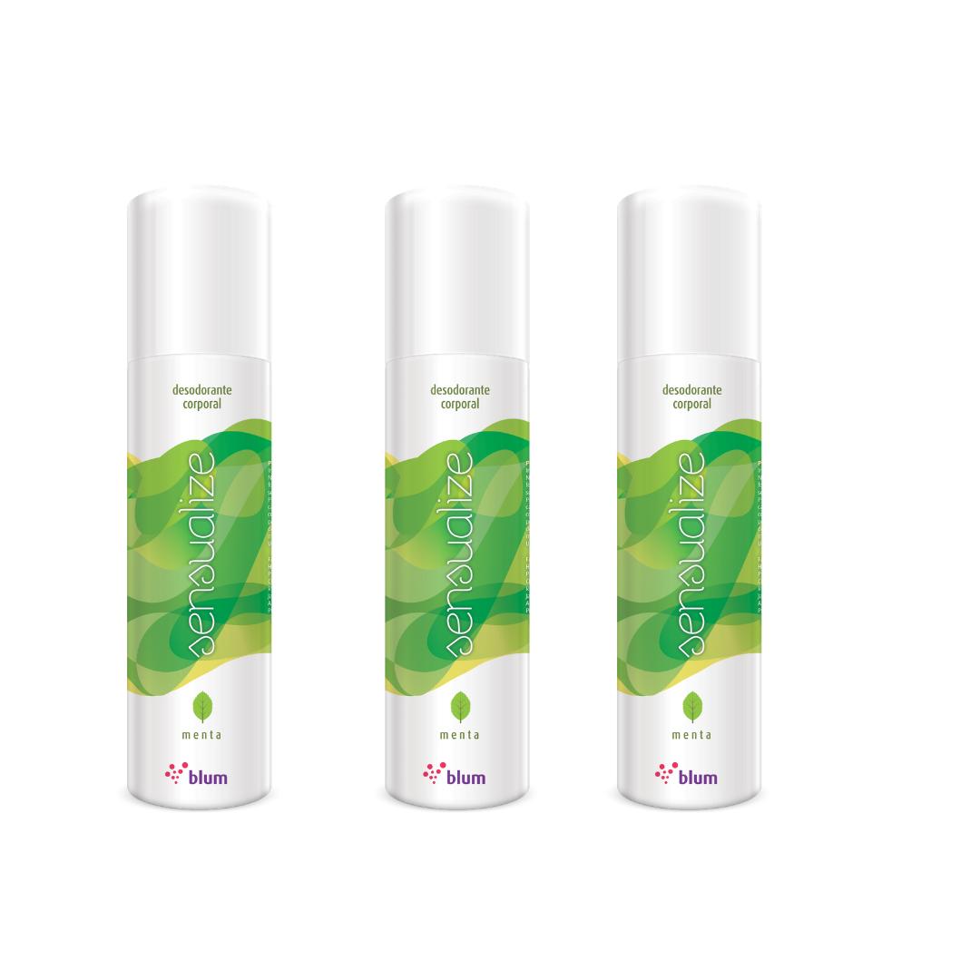 Desodorante corporal Aroma Menta Jato Seco kit 3 und.- 166ml