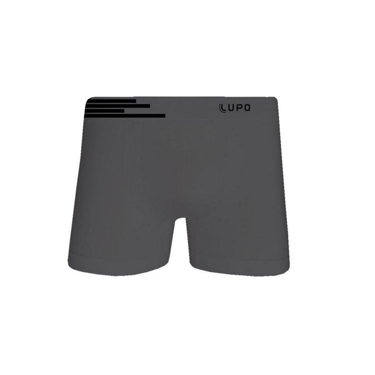 Kit 2 Cuecas Boxer Lupo Sem Costura Microfibra - Cor Branca e Cinza