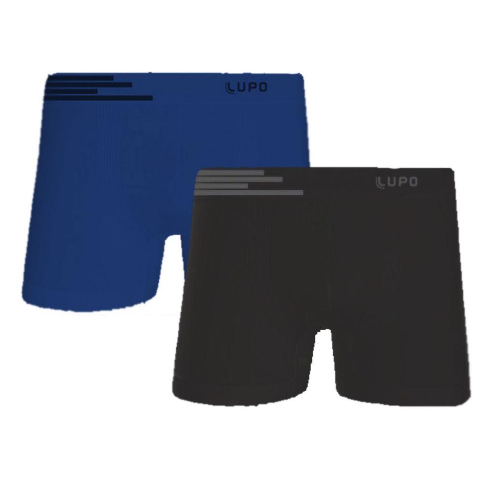 Kit 2 Cuecas Boxer Lupo Sem Costura Microfibra - Cor Preta e Azul