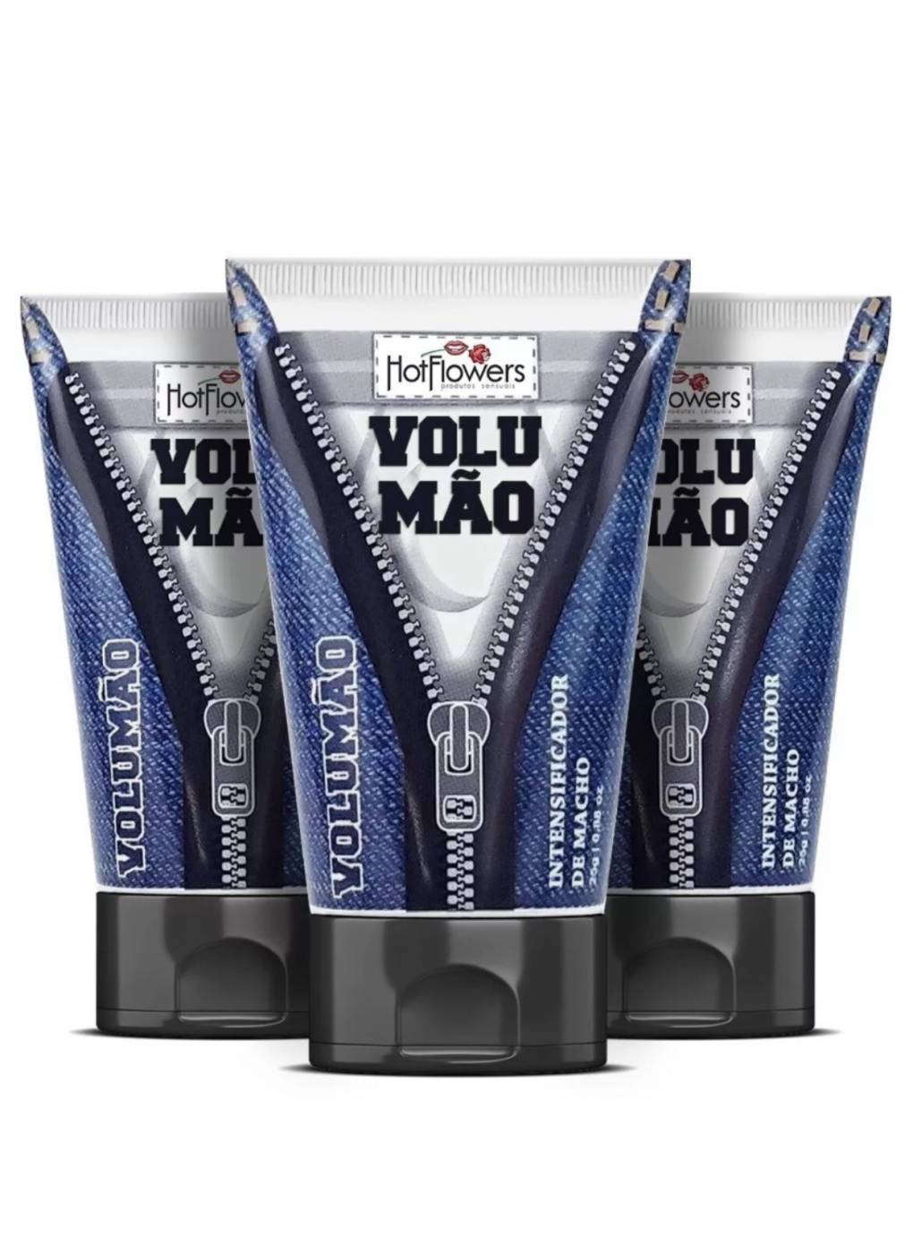 Volumão Gel Excitante Vasodilatador e Intensificador de Macho Kit 3 Unidades - Hot Flowers 25g