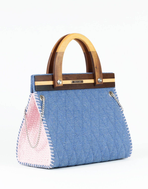Bolsa de Tecido e Madeira Ipê Azul