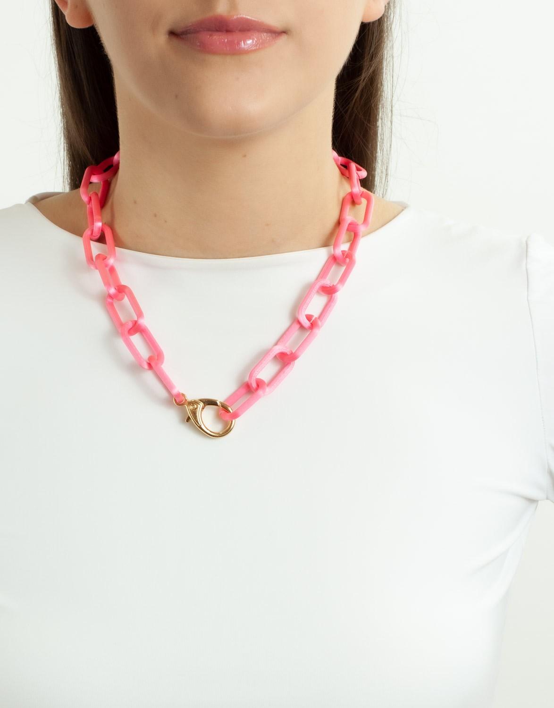 Colar Elo Grande 3D Pink
