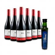 Combo 6 Vinhos Pinot Noir e Leve GRÁTIS 1 Azeite de Oliva