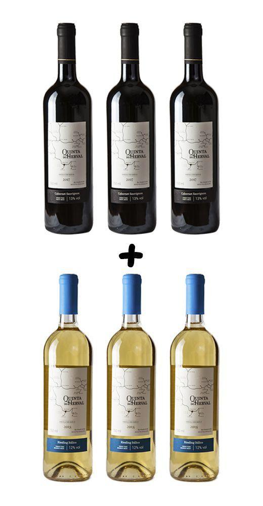 Caixa de Vinho Quinta do Herval Mix Cabernet Sauvignon e Riesling - 6 unidades