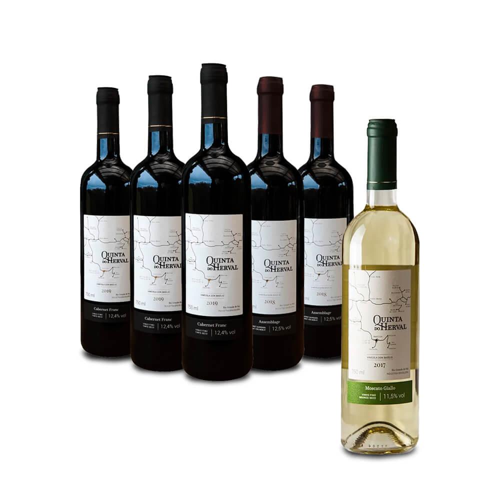 Combo 3 Vinhos Cabernet Franc + 2 Vinhos Assemblage - LEVE GRÁTIS 1 Vinho Moscato Giallo