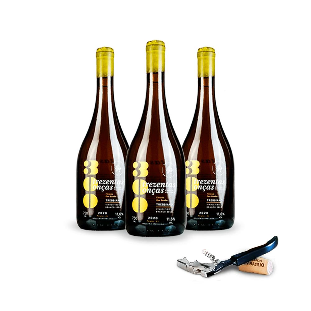 Combo 3 Vinhos Naturais 300 Trebbiano - LEVE GRÁTIS 1 Saca rolhas