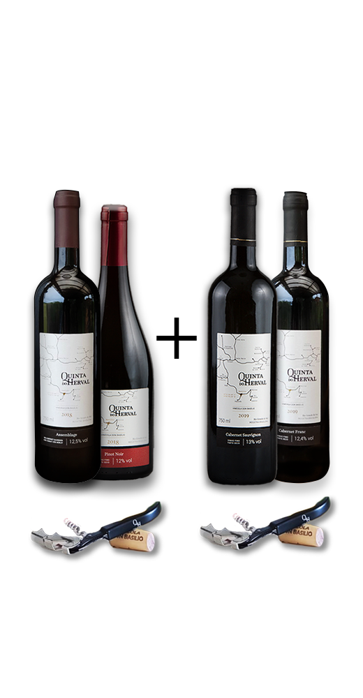 Compre 1 Vinho Cabernet Sauvignon + 1 Vinho Cabernet Franc + 1 Vinho Pinot Noir + 1 Vinho Assemblage GANHE 2 Saca Rolhas de presente.