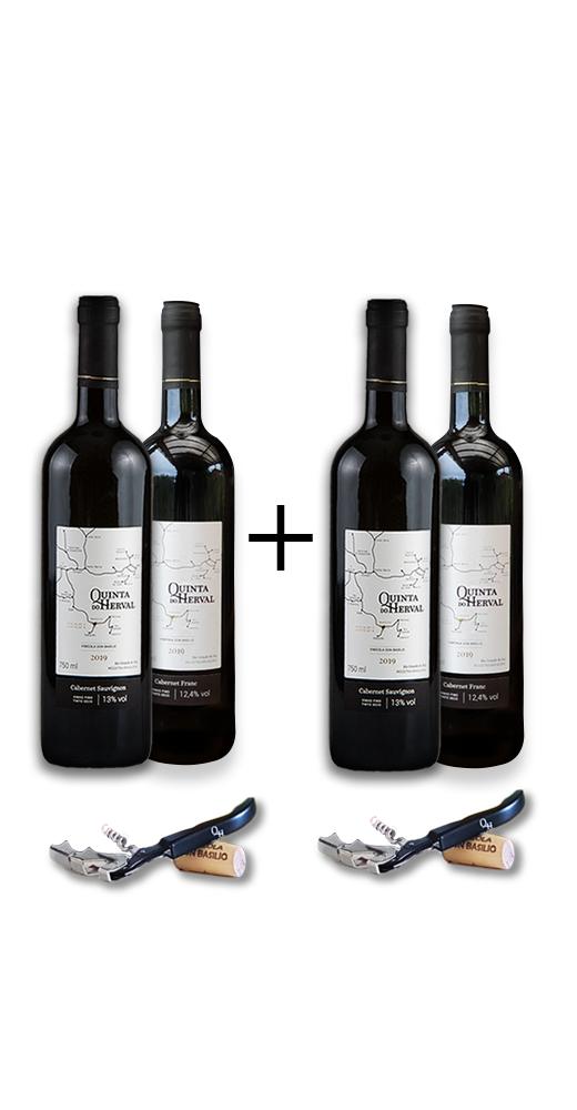 Compre 2 Vinhos Cabernet Sauvignon + 2 Vinhos Cabernet Franc GANHE 2 Saca Rolhas de presente