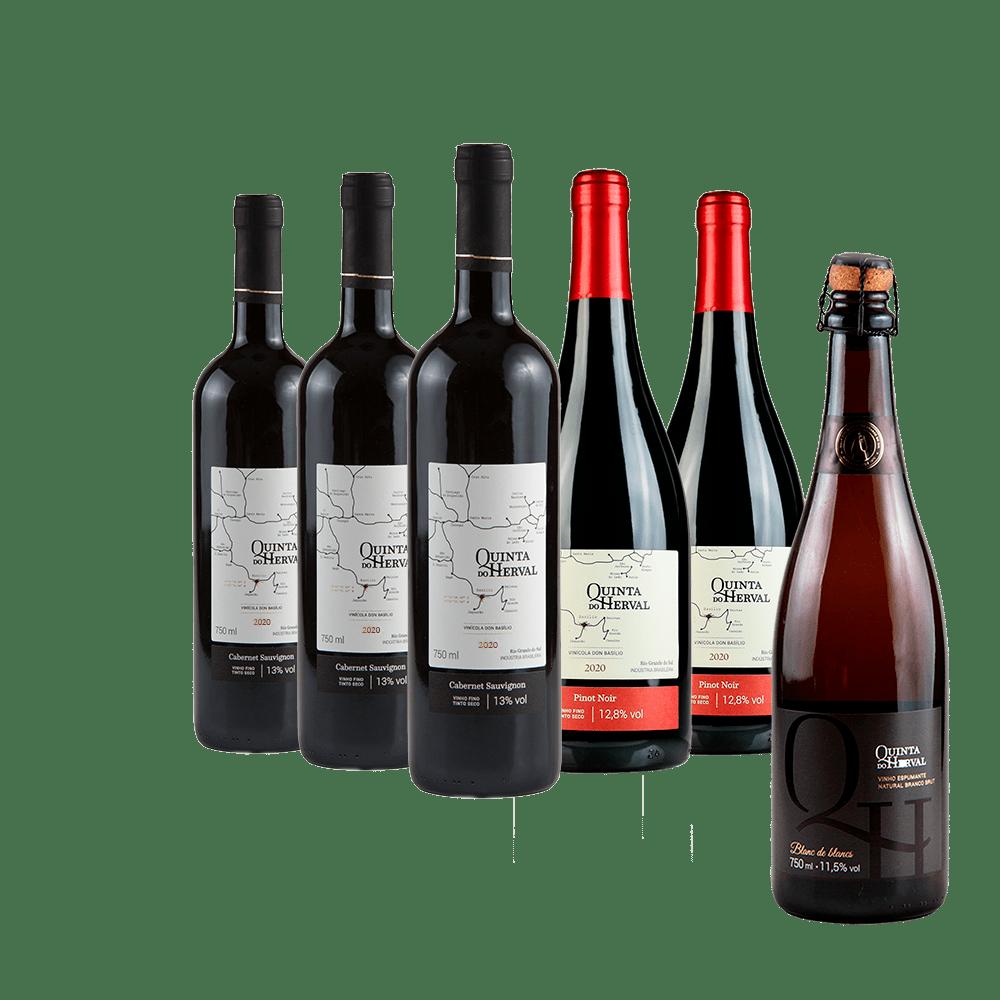 Compre 3 Vinhos Tintos Cabernet Sauvignon + 2 Vinhos Pinot Noir e leve GRÁTIS 1 Espumante Natural Branco Brut