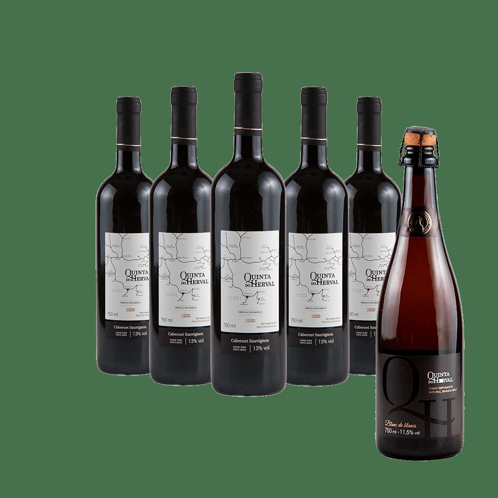 Compre 5 Vinhos Tintos Cabernet Sauvignon Leve GRÁTIS 1 espumante Natural Branco Brut