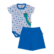 Kit Body Manga Curta e Shorts Dinossauro Masc - Azul