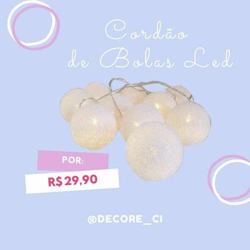 Cordao De Luz - Live S& J Com 10 Bolas - 3cm - A Pilha Aa
