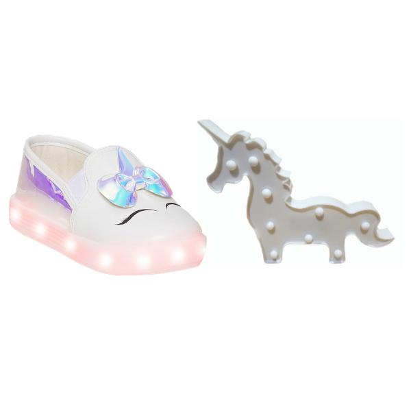 Na compra do tênis LED de unicórnio, ganhe de brinde um unicórnio branco LED