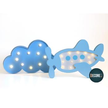 Tema avião nas nuvens azul