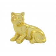 ANIMAL DECORATIVO GATO DEITADO DOURADO M