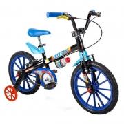 Bicicleta infantil nathor aro 16 preta com azul